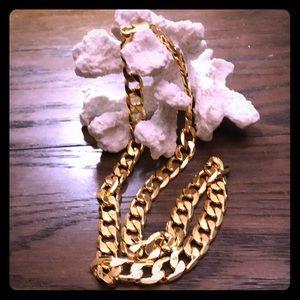 Shiny Gold Necklace Marked 22 KGL, Unisex